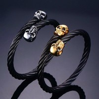 Men's Black Skull Bracelets Rock Punk Stainless Steel Twisted Cable Wire Chain Biker Skull