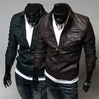 Slim Fit Fashion Men Zip Leather Jacket