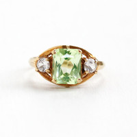 Vintage 10k Yellow Gold Created Green & White Spinel Ring - Retro Size 6 Simulated Peridot Hallmarked Romany August Birthstone Fine Jewelry