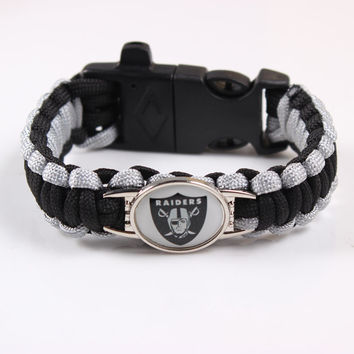 NFL Oakland Raiders 4 in 1 Paracord Bracelet Gear Buckle Travel Kit Flint Fire Starter Whistle Outdoor Camping Survival Bracelet
