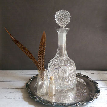 Crystal Decanter/ Vintage Etched Heavy Crystal Wine Decanter/ Lead Crystal Decanter with Roses/ Whiskey Decanter/ Wine Decanter