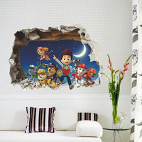 Cartoon Movies Through Wall Stickers Art Decals for kids room Wallpaper Boy's Room Decor Gift Nursery Baby Home Decoration