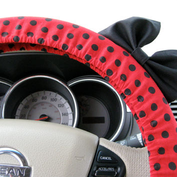 The Original Red and Black Polka Dot Steering Wheel Cover with Matching Black Bow - Minnie Mouse Inspired