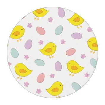 Cute Easter pattern with chickens, eggs, flowers Edible Frosting Rounds
