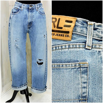 Vintage Ralph Lauren jeans 31 X 30 size 10 / 12 / high waisted / distressed  / 90s relaxed fit boyfriend jeans