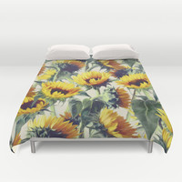 Sunflowers Forever Duvet Cover by Micklyn