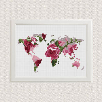 World Map Cross Stitch Pattern, Floral World Map Silhouette Flowers Counted Cross Stitch Chart Modern Decor, Download PDF