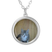 Kitten Photo Silver Plated Necklace