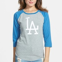 Junior Women's Red Jacket 'Dodgers - Vintage' Baseball Tee