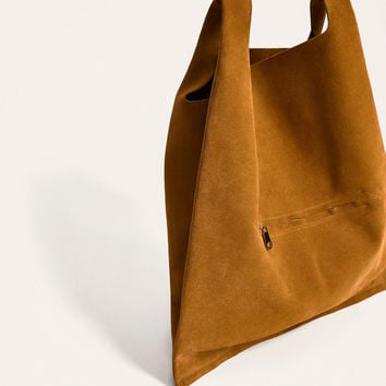 BROWN MINIMALIST LEATHER TOTE BAG