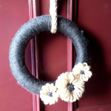 Yarn Wreath with Flowers -  Adjustable!
