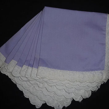 8 Vintage Lilac Dinner Napkins with White Eyelet Lace Trim - Very Pretty! Circa 1970s