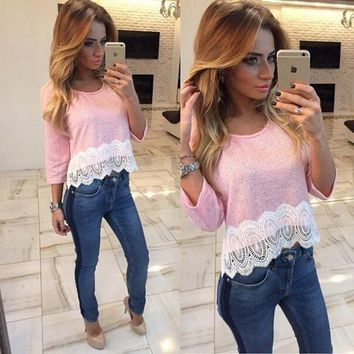 Lace Patchwork T Shirt Top