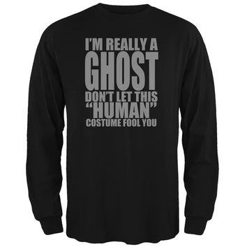 Halloween Human Ghost Costume Black Adult Long Sleeve T-Shirt