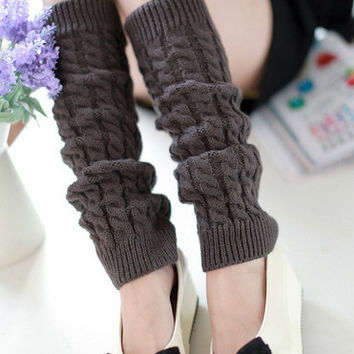 Winter Knit Stripe Leg Warmers