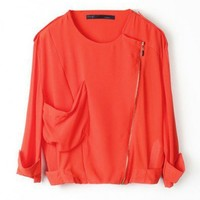 Red Retro Chiffon Jackets with Asymmetrical Zipper and Epaulet