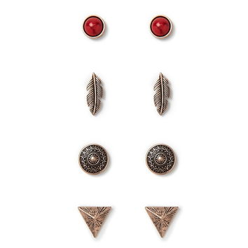 Mixed Etched Stud Set | Forever 21 - 1000152299