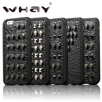 3D Fashion Cool Punk Skull Design TPU Case for iPhone 6 6S Handmade Wild Spikes Studs Rivet Skin Case For iPhone 6S Case 4.7''