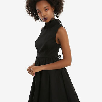 Black Sleeveless Collared Fit & Flare Dress
