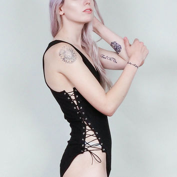 Bound up - Black bodysuit with lace up sides