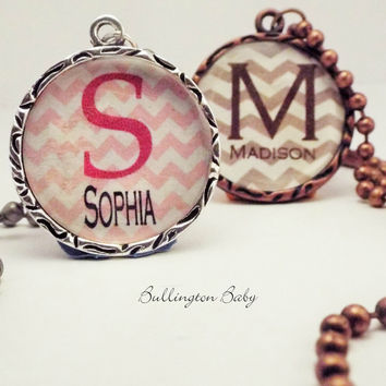 Initial Necklace, Charm Necklace, Monogram Necklace, Chevron Necklace, Personalized Necklace, Custom Necklace, Gift for Girl, Girls Jewelry