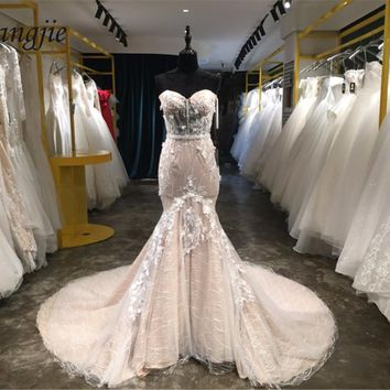 Sexy Mermaid Wedding Dress 2018 Sweetheart Off The Shoulder Sweep Train Lace Up Back Applique Tulle Bridal Gown robe de mariage