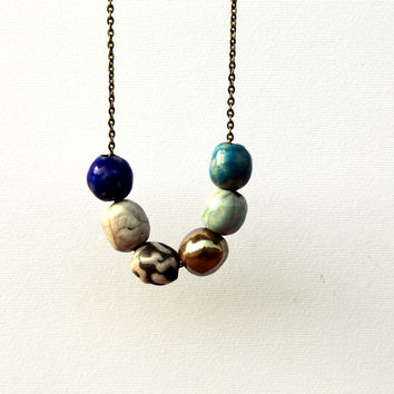 Minimal geometric necklace, ceramic jewelry, raku blue