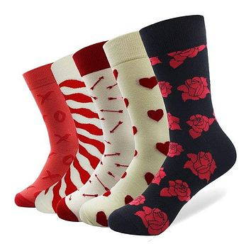 5 Pairs Crazy/ Fun/ Happy/Colorful Socks For Men/ women - Love & Romance