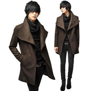 ZEESHANT 2017 New Brand Winter Mens Coat Wool Blend Long Solid Mens Clothing Fashion Casual Mens Blend in Men's Wool&Blends