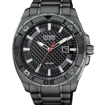 Citizen AW1095-54E Men's Eco-Drive Black IP Stainless Steel Dive Watch