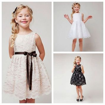 kid girls princess pageant birthday party tulle dress 3 colors