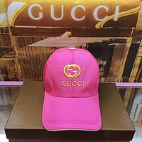 GUCCI New Popular Women Men Embroidery Sunhat Baseball Cap Hat Rose Red I-3A30-LRWJ