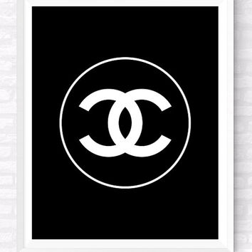 COCO Chanel Logo Printable, Beauty and Fashion Print, Makeup wall Art, Gift For Her, Girl's Room Poster, Chanel Logo Art, Black Decor
