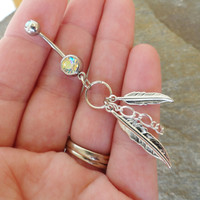 Feather and Chain Belly Button Ring, Silver Feather Barbell Navel Piercing