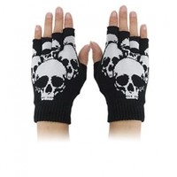 Skull Print Stretchy Half Finger Unisex Gloves Black S