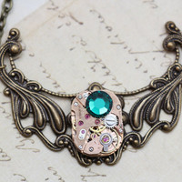 Steampunk Necklace Steam Punk Jewelry Emerald Green May - Antique Brass- Clockwork Vintage Watch Necklace -  Inspired by Elizabeth