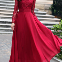 Long Sleeves Lace Long Hemline Dress