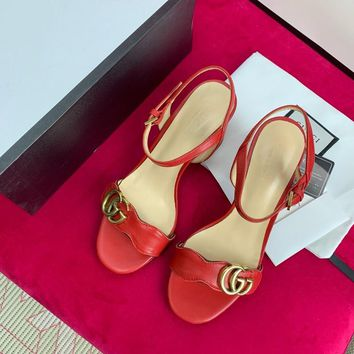 Gucci Red Leather Mid Heel 75mm Double G Sandal - Best Online Sale
