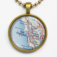 City Map Necklace - San Francisco -Vintage Map Series