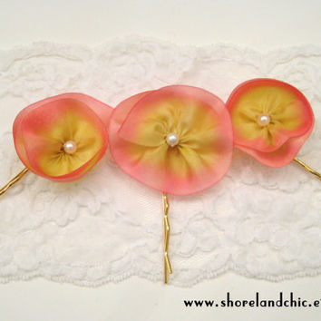 Flower wedding hairpins, bridal hairpins set of 3, pink wedding hair flowers, bridesmaid accessory, destination wedding, yellow pink wedding