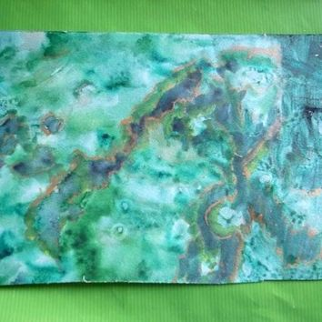 Islands Under The Sea - Atlantis Series - Handpainted Abstract Watercolor Watercolour - 12x7.5