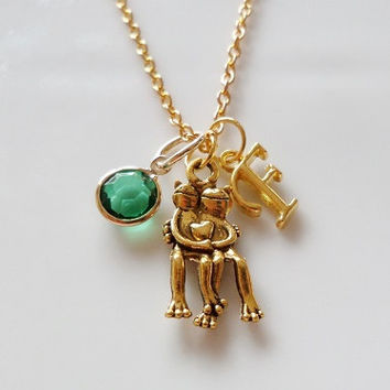 Frog necklace, Initial necklace, Frog couple, Personalized necklace, Hugging frogs, Antique gold necklace, birthstone charm necklace