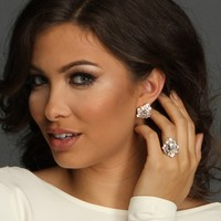 Gold Bling Earring And Ring Set