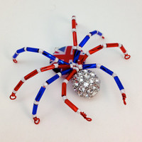 Beaded Spider Pendant - Union Flag Patriotic Spidey - Red, White & Blue