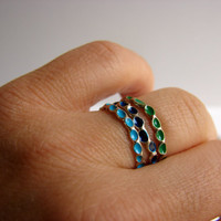 Blue Rings Ombre ring Stackable Sterling Silver