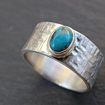 turquoise mens ring silver proposal ring, wide mens ring turquoise, rustic silver ring gemstone, mens promise ring December birthstone