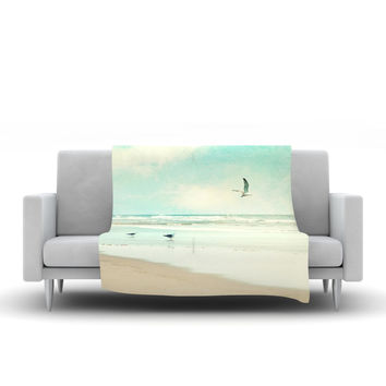 "Sylvia Cook ""Away We Go"" Beach Seagull Fleece Throw Blanket"