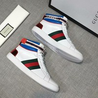 GUCCI 2018 autumn and winter new high-top high-quality belt Velcro sports casual shoes White