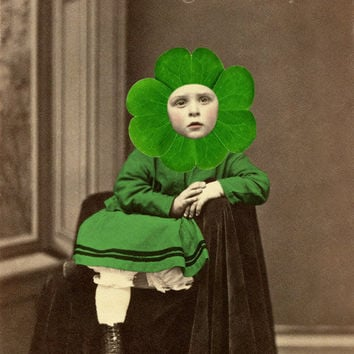 St Patrick's Day Art Print Clover Green and Sepia by frighten