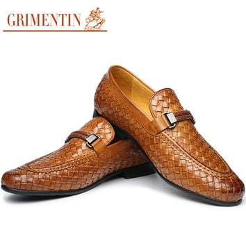 fashion braided mens loafers genuine leather brown black Italian men formal shoes flats